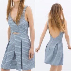 Zara Trafaluc Chambray Heart Cutout Backless Dress